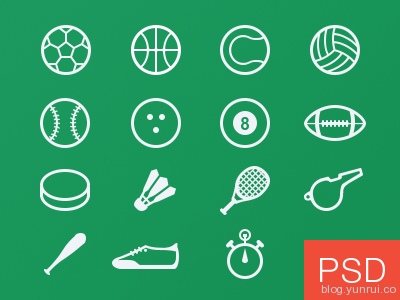 Sport glyph vector icons freebie by Alex Pronsky in 40 New Icon Sets for March 2014