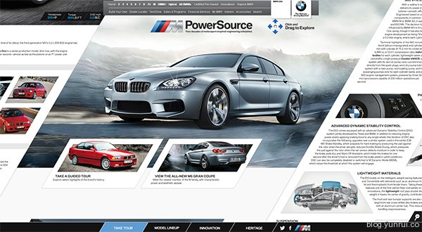 The BMW M PowerSource in 25 Creative Automotive Websites