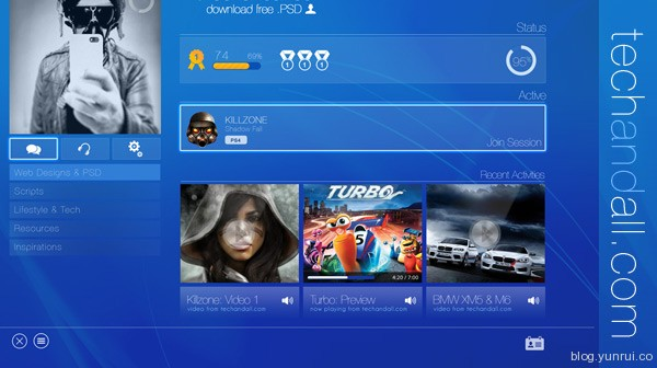 Techandall Sony PS4 UI by Rubayath in 30 New and Free UI Kits for Designers
