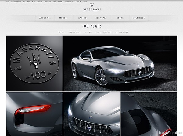 Maserati 100 years in 25 Creative Automotive Websites