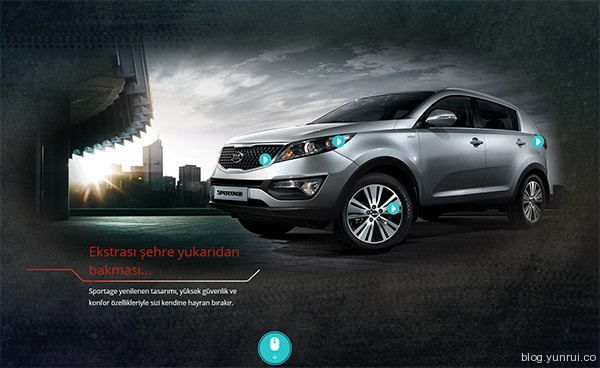 Kia Sportage in 25 Creative Automotive Websites