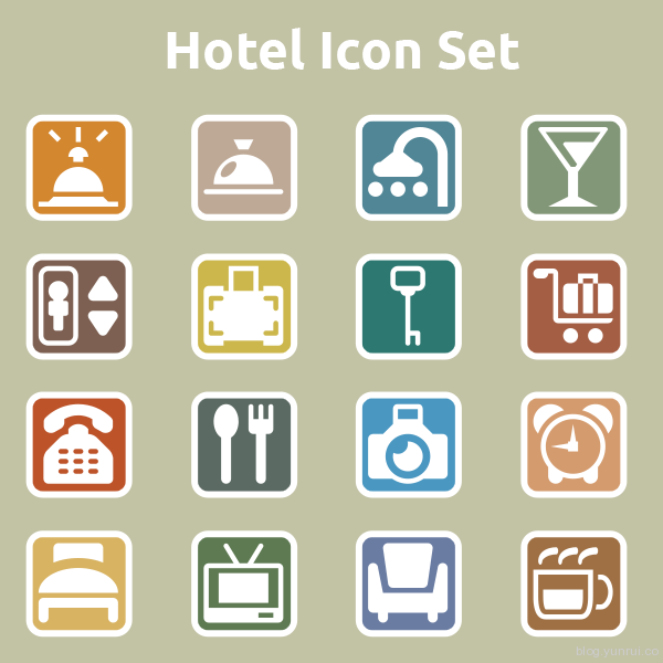 Hotel Icon Set by Simple Icon in 40 New Icon Sets for March 2014