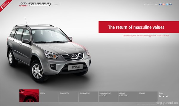 Cherry Tiggo in 25 Creative Automotive Websites