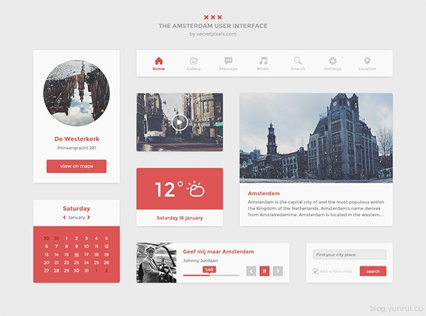 Flat UI kit by Hugo in 30 New and Free UI Kits for Designers