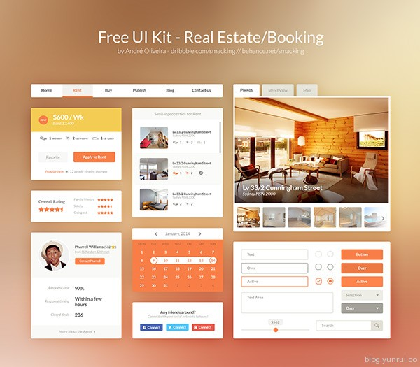 Free UI Kit PSD - Real Estate/Booking by André Oliveira in 30 New and Free UI Kits for Designers
