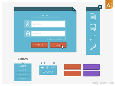 Simple Vector UI Kit_mk2 by Jason Smith in 30 New and Free UI Kits for Designers