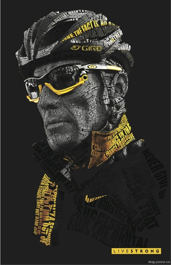 Lance Armstrong Typography by VEIN in Collection of Fresh and Creative Typography Projects