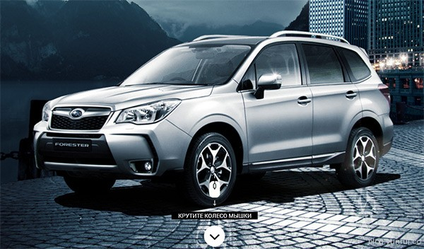 Subaru Forester in 25 Creative Automotive Websites