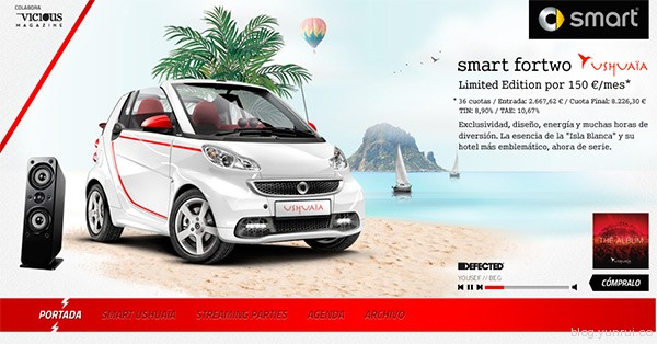 Smart ForTwo Ushuaia in 25 Creative Automotive Websites