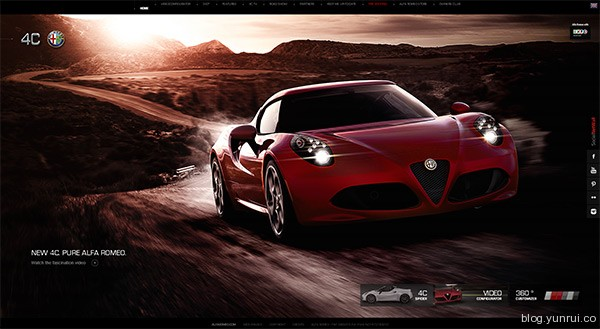 Alfa Romeo 4C in 25 Creative Automotive Websites