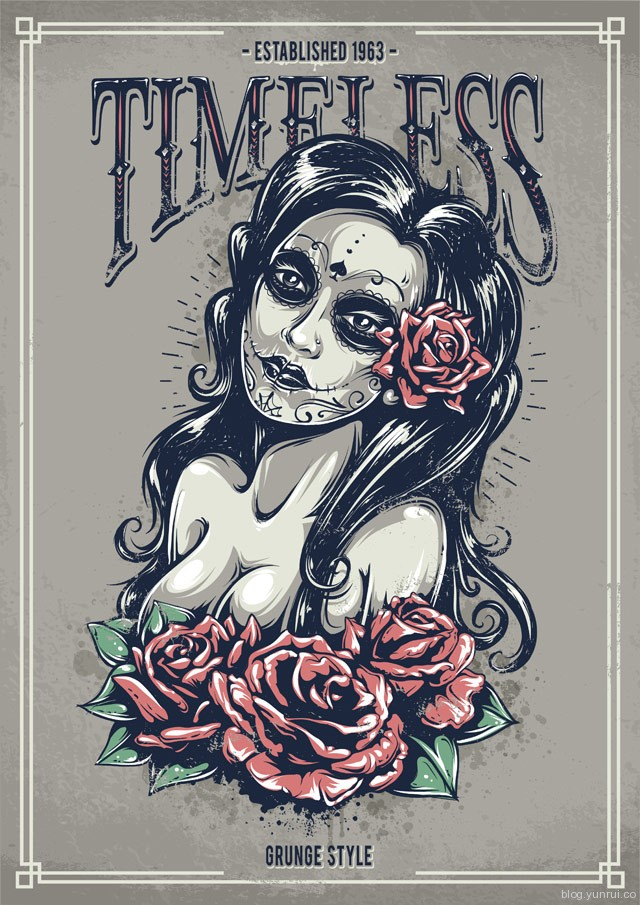 Create a Tattoo Style, Grunge, Day of Dead Girl Poster in Illustrator in Web Design Inspirational Cocktail #5