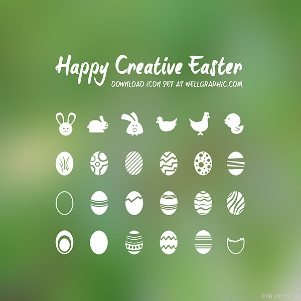 Happy Creative Easter by Pontus Wellgraf in 47 Fresh and Flat Icon Sets for April 2014