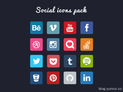 Social Icons Pack by Dmitri Voronianski in 47 Fresh and Flat Icon Sets for April 2014