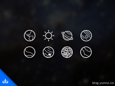 Space Icons by Kevin White in 47 Fresh and Flat Icon Sets for April 2014