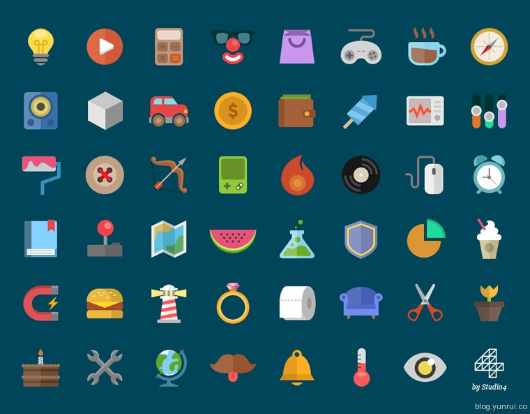 a set of free flat icons