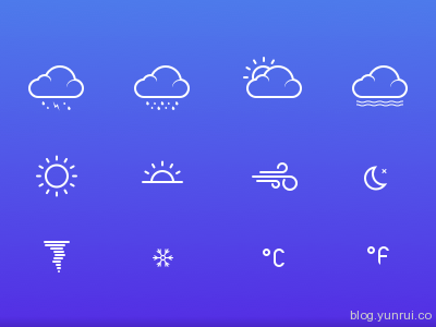 Weather Icons by Martin Machycek in 47 Fresh and Flat Icon Sets for April 2014