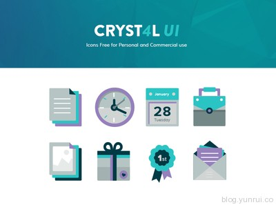 Cryst4l UI by Teodora in 47 Fresh and Flat Icon Sets for April 2014