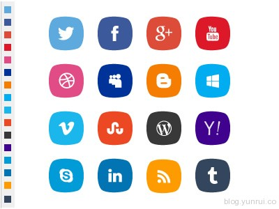 PSD social icons with original colors by Safa Paksu in 47 Fresh and Flat Icon Sets for April 2014