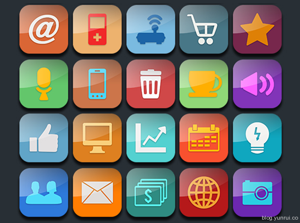 30 Glossy Icons for Mobile Apps by Ferman Aziz in 47 Fresh and Flat Icon Sets for April 2014