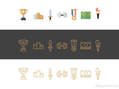 Champicons icons of champions by Emanuel Serbanoiu in 47 Fresh and Flat Icon Sets for April 2014