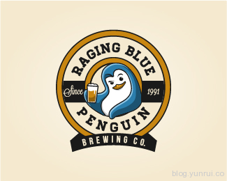 Raging Blue Penguin by Widakk in 50 Logos for Inspiration