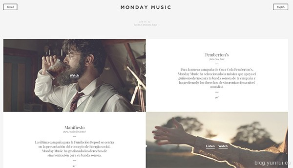 Monday Music in 35 Inspiring Examples of White Space in Web Design