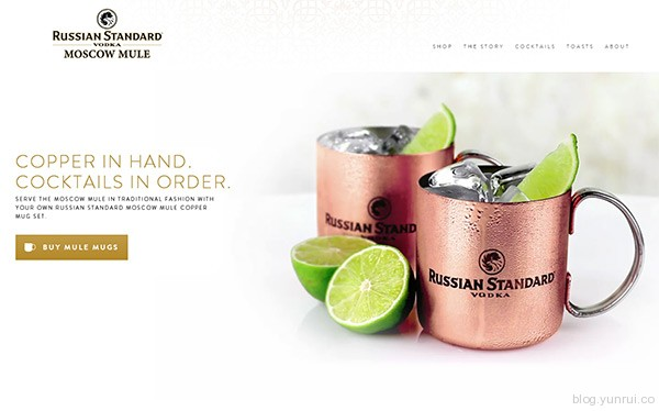 Russian Standart Moscow Mule in 35 Inspiring Examples of White Space in Web Design