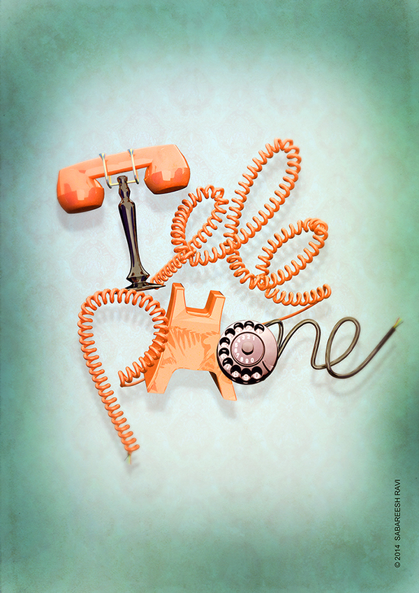 Telephone Typography by SABAREESH RAVI in Showcase of Fresh & Creative Typography Projects