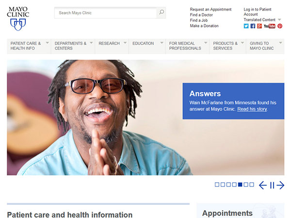 Medical Website Design - Mayo Clinic