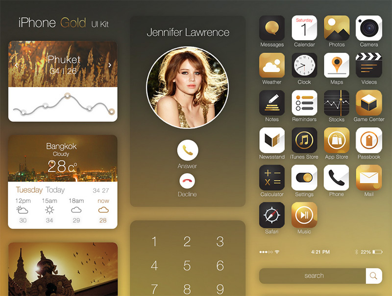 Iphone Gold Ui Kit by Tintins in 35+ Free UI Kits for Web Designers