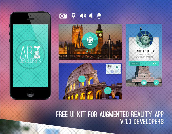 Free UI Kit for Augmented Reality App V.1.0 in 35+ Free UI Kits for Web Designers
