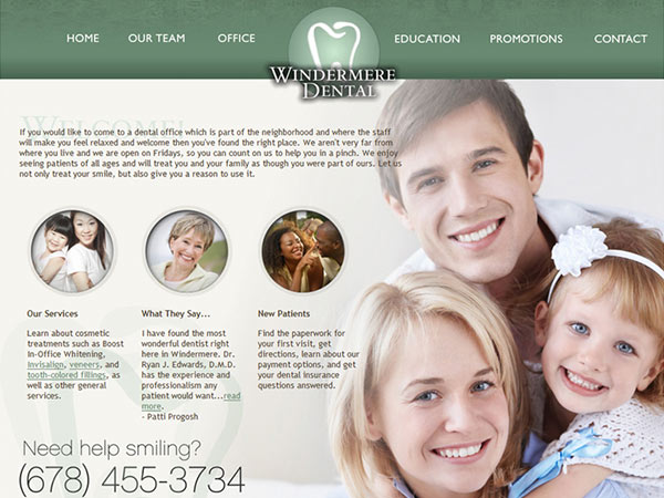 Medical Website Design - Windermere Dental