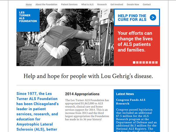 Medical Website Design - Les Turner Als Foundation