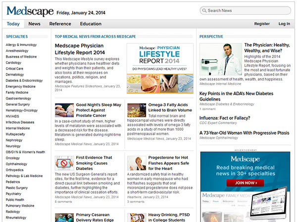 Medical Website Design - Medscape