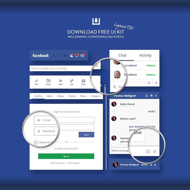 Facebook Redesign UI KIT PSD by Wellgraphic in 35+ Free UI Kits for Web Designers