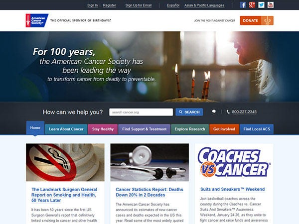 Medical Website Design - American Cancer Society