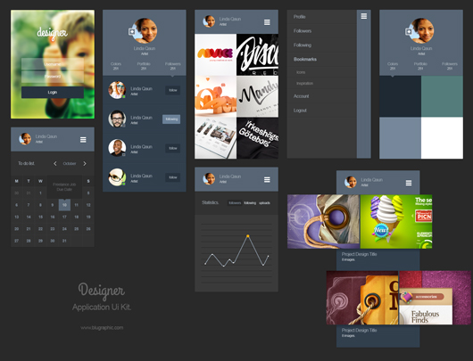 Designer Portfolio App Ui Kit by Blugraphic in 35+ Free UI Kits for Web Designers