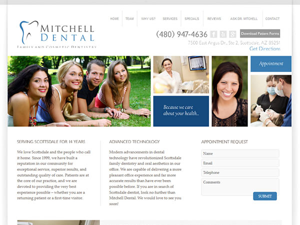 Medical Website Design - Mitchell Dental