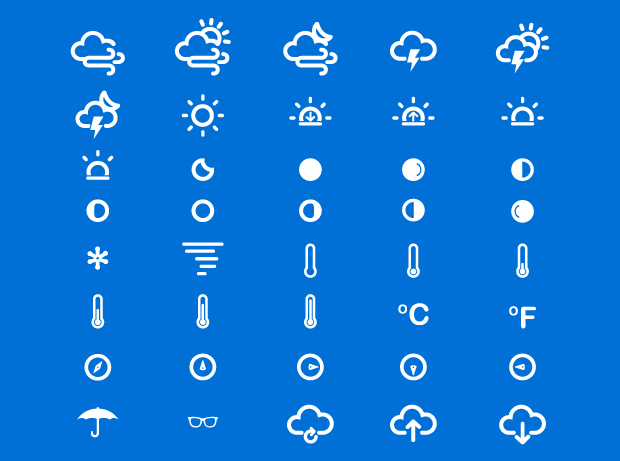 75 Slim Weather and Climate Icons by Ferman Aziz in 40+ Fresh and Flat Icon Sets for May 2014