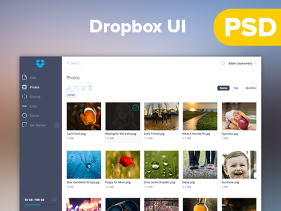 Dropbox UI by samsu in 35+ Free UI Kits for Web Designers