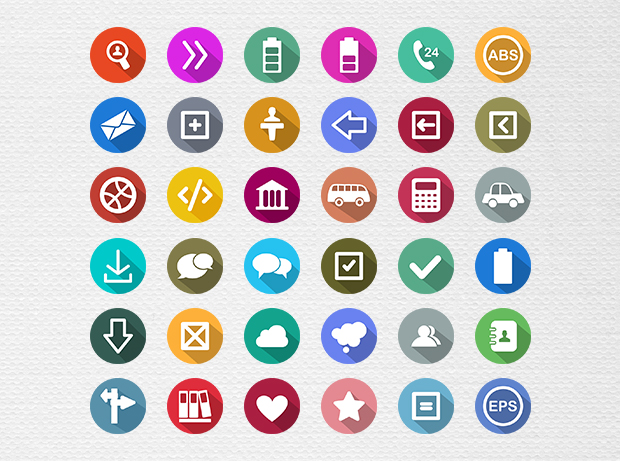 100 Flat Long Shadow Icons Vol. 2 by Ferman Aziz in 40+ Fresh and Flat Icon Sets for May 2014