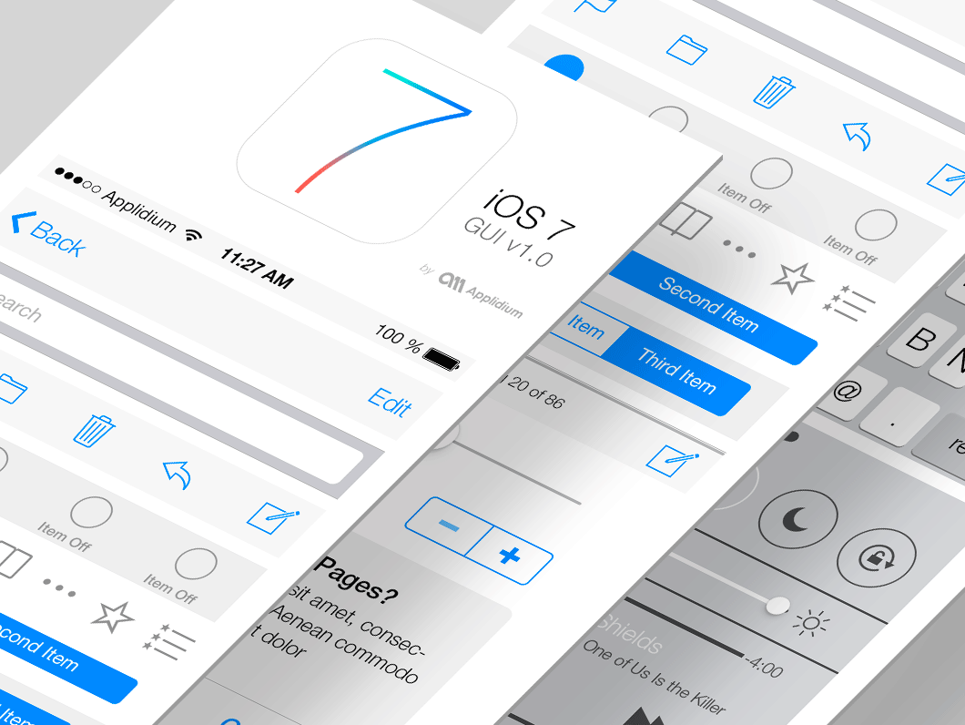 iOS 7 GUI PSD by Applidium in 35+ Free UI Kits for Web Designers