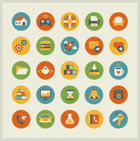 Dribbble Vintage Flat Freebie by Elena Genova in 40+ Fresh and Flat Icon Sets for May 2014