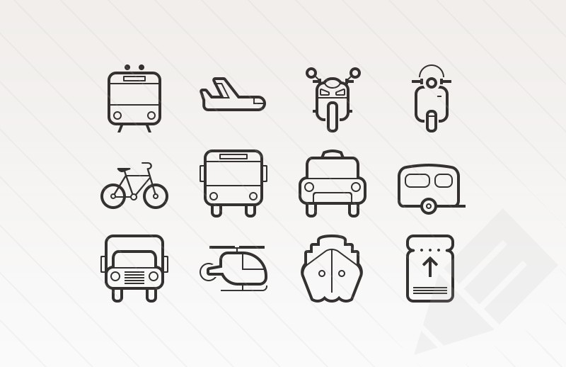 Transportation Icons by Medialoot in 40+ Fresh and Flat Icon Sets for May 2014