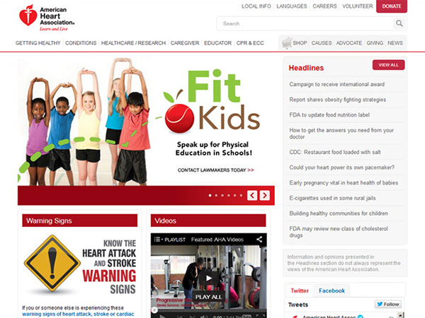 Medical Website Design - American Heart Association