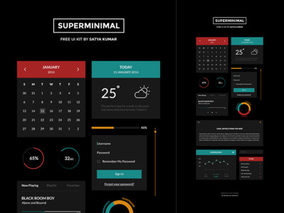 Superminimal V2 UI Kit by Satya Kumar in 35+ Free UI Kits for Web Designers