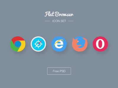 Free Flat Browser Icons by Nathan Zerk in 40+ Fresh and Flat Icon Sets for May 2014
