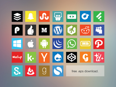 Free Flat Social Media Icon Set 2 by Allan McAvoy in 40+ Fresh and Flat Icon Sets for May 2014