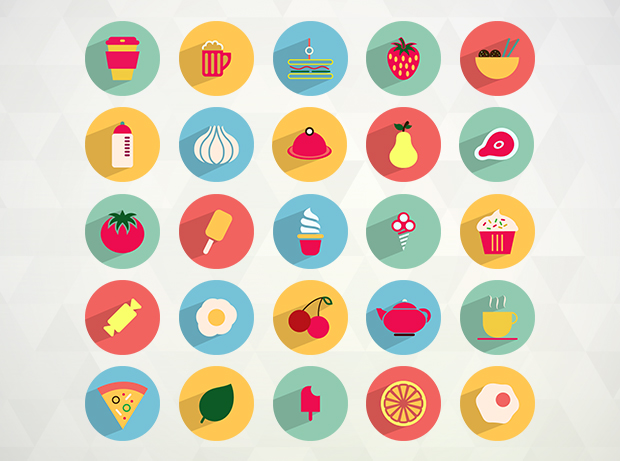 50 Free Flat Food and Drink Icons by Ferman Aziz in 26 Free and Flat Icon Sets