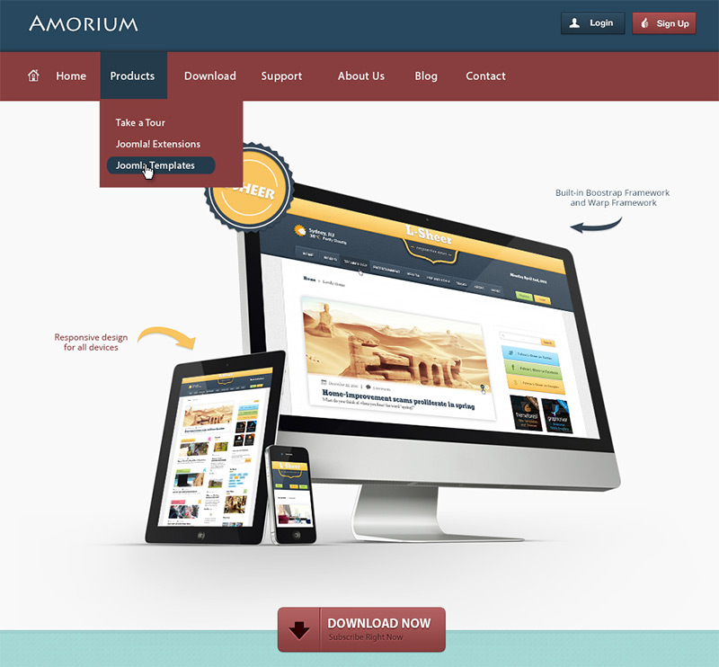 Amorium in 35 Free and Flat PSD Web Templates